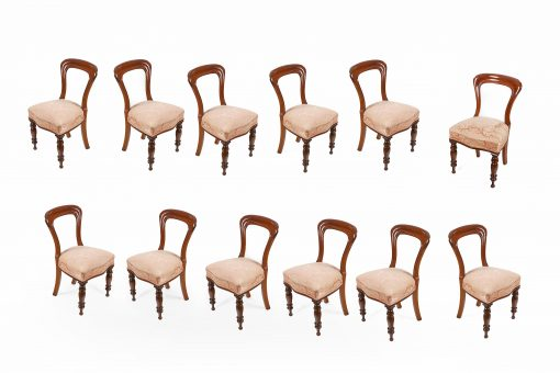 10042 - 19th Century Set of 12 Balloon Back Dining Chairs