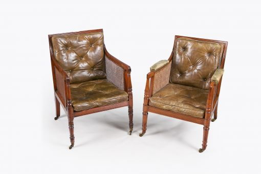 10205 - Early 19th Century Regency Matched Pair of Bergere Library Chairs