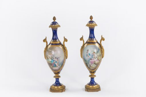 10383 - 19th Century Pair of French Sevres Porcelain and Ormolu Vases