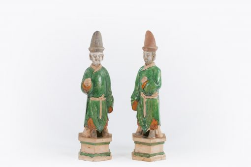 10409 - 17th Century Ancient Imperial Chinese Ming Dynasty Pair of Figural Terracotta Sculptures