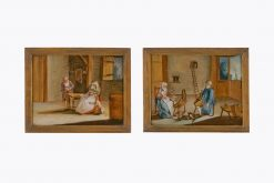 10437 - 18th Century Dutch Pair of Reverse Glass Paintings