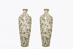 10439 - Early 20th Century Large Pair of Hand Painted Polychrome Vases