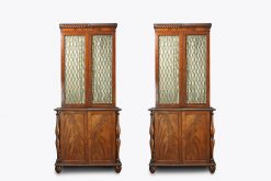 10420 - 19th Century Irish Pair of Cork Flame Mahogany Bookcases