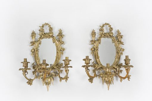 10500 - Early 19th Century William IV Pair of Brass and Mirror Wall Sconces