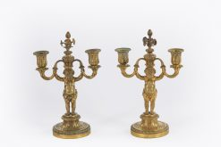 10506 - Late17th / Early 18th Pair of Gilded Bronze Candle sticks