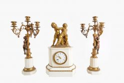 10516 - 19th Century French Gilt Bronze and Marble figural Clock Garniture Set