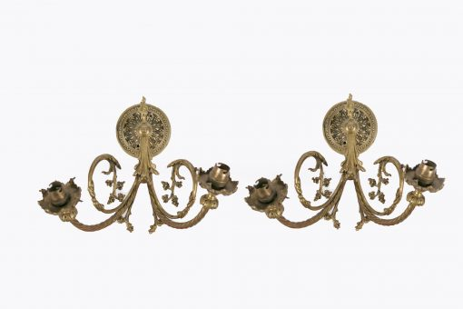 7370 - 19th Century Pair of Electrified Brass Wall Sconces