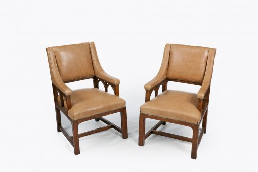8614 - 19th Century Pair of Library Armchairs in the Gothic Manner