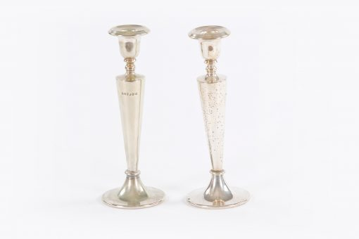 10429 - 19th Century Pair of Silver Plate Candlesticks