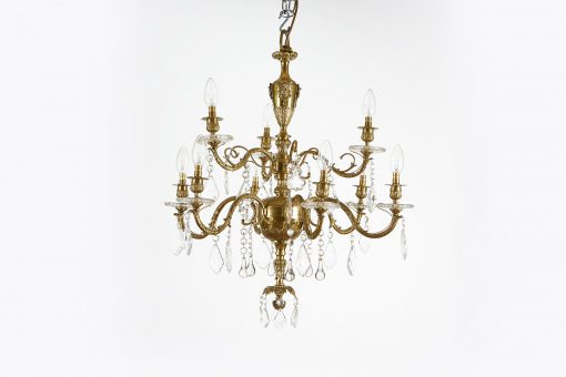 10502 - Early 19th Century Regency Gilded Bronze and Crystal Nine Arm Chandelier