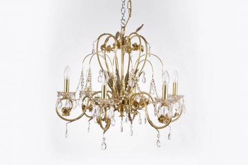 10503 - Early 19th Century Regency Gilded Bronze and Crystal Six Arm Chandelier
