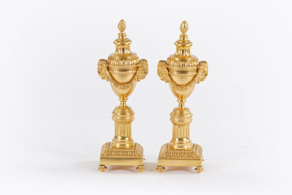 10505 – 18th Century Pair of Gilded Bronze Cassolettes attributed to Matthew Boulton