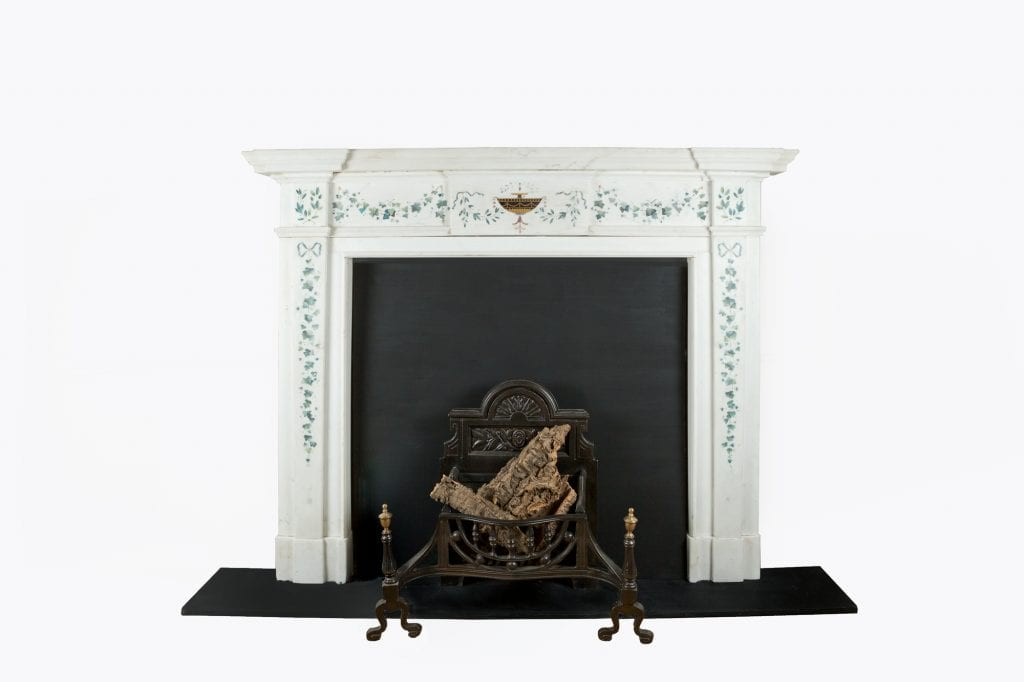 10479 – 18th Century George III Irish Statuary White Marble and Scagliola Fire Surround after Pietro Bossi