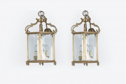 19579 - 19th Century Pair of Brass Hexagonal Lanterns