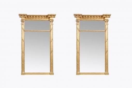 10600 - Early 19th Century Regency Pair of Compartmental Pier Mirrors