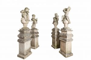 10636 – Late 19th Century Set of Four Baroque Style Cast Stone Putti