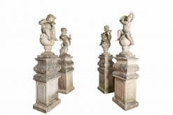 10636 - Late 19th Century Set of Four Baroque Style Cast Stone Putti