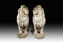 10678 - 19th Century Pair of Carved Stone Lions after Jean-Auguste Barre