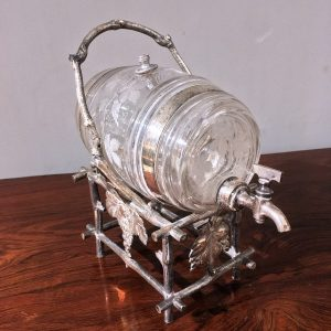 19th Century Etched Glass Liquor Barrel on a Silver Plated Stand