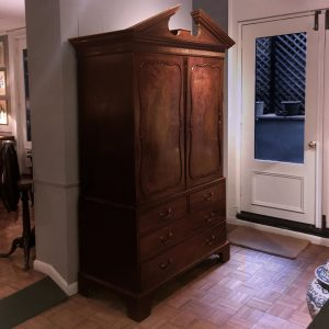 Irish Georgian Mahogany Broken Pediment Linen Cupboard