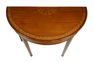 Pair of Satinwood Demilune Tables