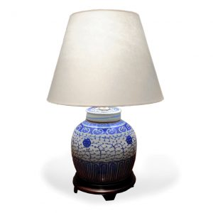 Chinese Blue and White Porcelain Melon Jar Converted to a Lamp