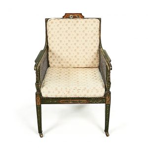 Pair of Early 19th Century Irish George III Green and Polychrome Bergere Armchairs