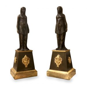 Pair of English Regency Neoclassical Patinated and Gilt Bronze Figures