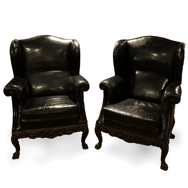 Pair of 19th Century Black Leather Wing Back Armchairs