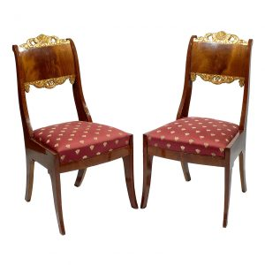 Early 19th Century Set of 8 Russian Empire Parcel Gilt Dining Chairs