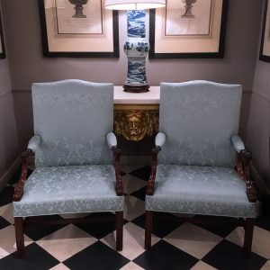 Pair of 19th Century Upholstered Open Armchairs with Arched Crests