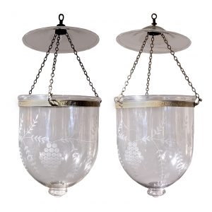 Pair of Hand Blown Glass Bell Jar Lanterns with Grape Etching
