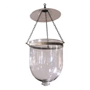 Single Hand Blown Glass Bell Jar Lantern with Grape Etching