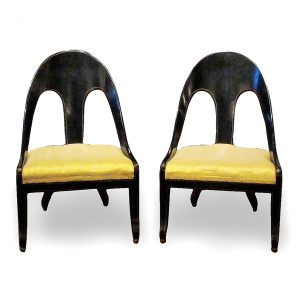 Pair of Early 19th Century Regency Ebonized and Gilt Spoon Back Slipper Chairs, after Thomas Hope