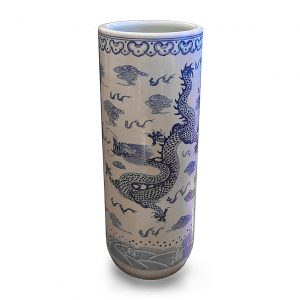 Chinese Blue and White Porcelain Vase Umbrella Stand, Ornamented with a Dragon