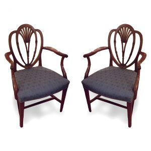 Pair of Hepplewhite Style Armchairs with Heart Shaped Backs