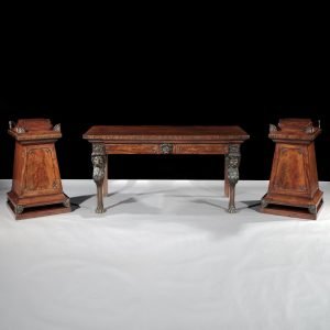 Early 19th Century Regency Brass Inlaid Mahogany Side Table and Pair of Pedestals, after Thomas Hope