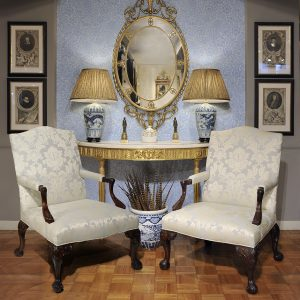 Pair of 18th Century Irish Chippendale Library Armchairs