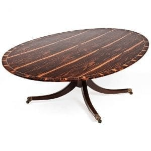Regency Style Oval Macassar Ebony Dining Table