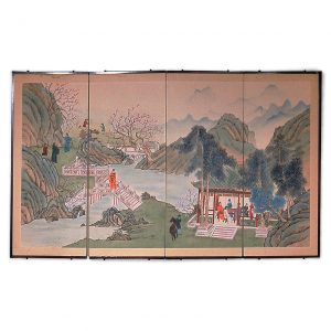 19th Century Four Panel Chinese Screen Depicting a Landscape with Cherry Blossoms