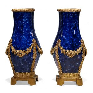Pair of Sevres Cobalt Glazed Porcelain Vases with Brass Mounts