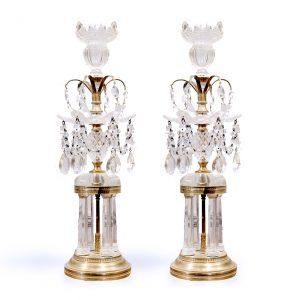 Pair of Regency Style Brass and Cut Glass Girandoles
