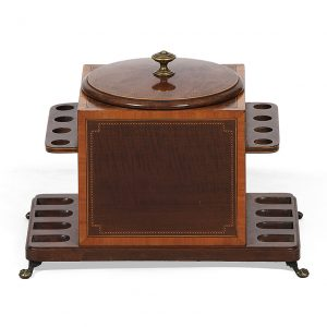 Early 20th Century English Humidor and 8 Pipe Stand