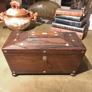 Early 19th Century Regency Mother of Pearl Inlaid Tea Caddy of Sarcophagus Form