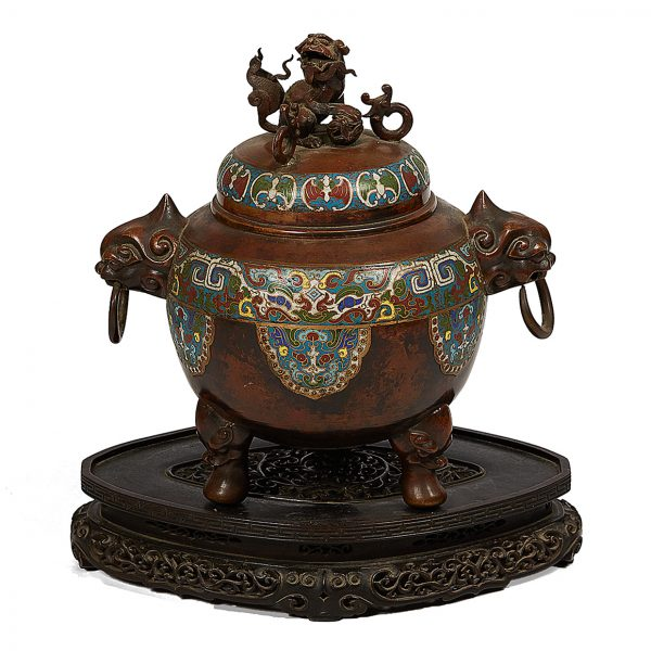 3210 - Chinese Qing Period Bronze and Cloisonne Enamelled Censer