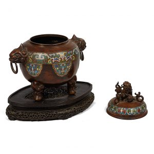 Chinese Qing Period Bronze and Cloisonne Enamelled Censer