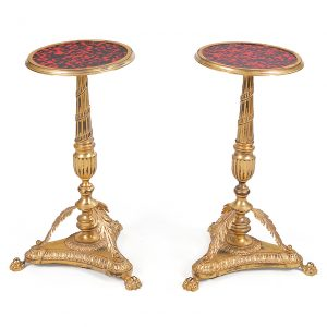 Early 19th Century Empire Pair of Simulated Tortoise Shell and Ormolu Occasional Tables
