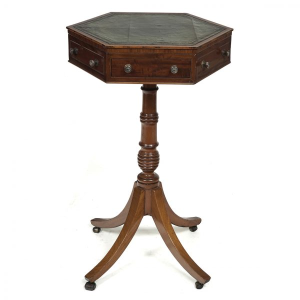 Hexagonal Occasional Table with a Green Leather Top