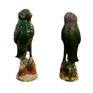 Pair of Porcelain Incense Burners in the Form of Parrots