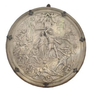 Carved Circular Marble Plaque Depicting Soldiers in Roman Dress